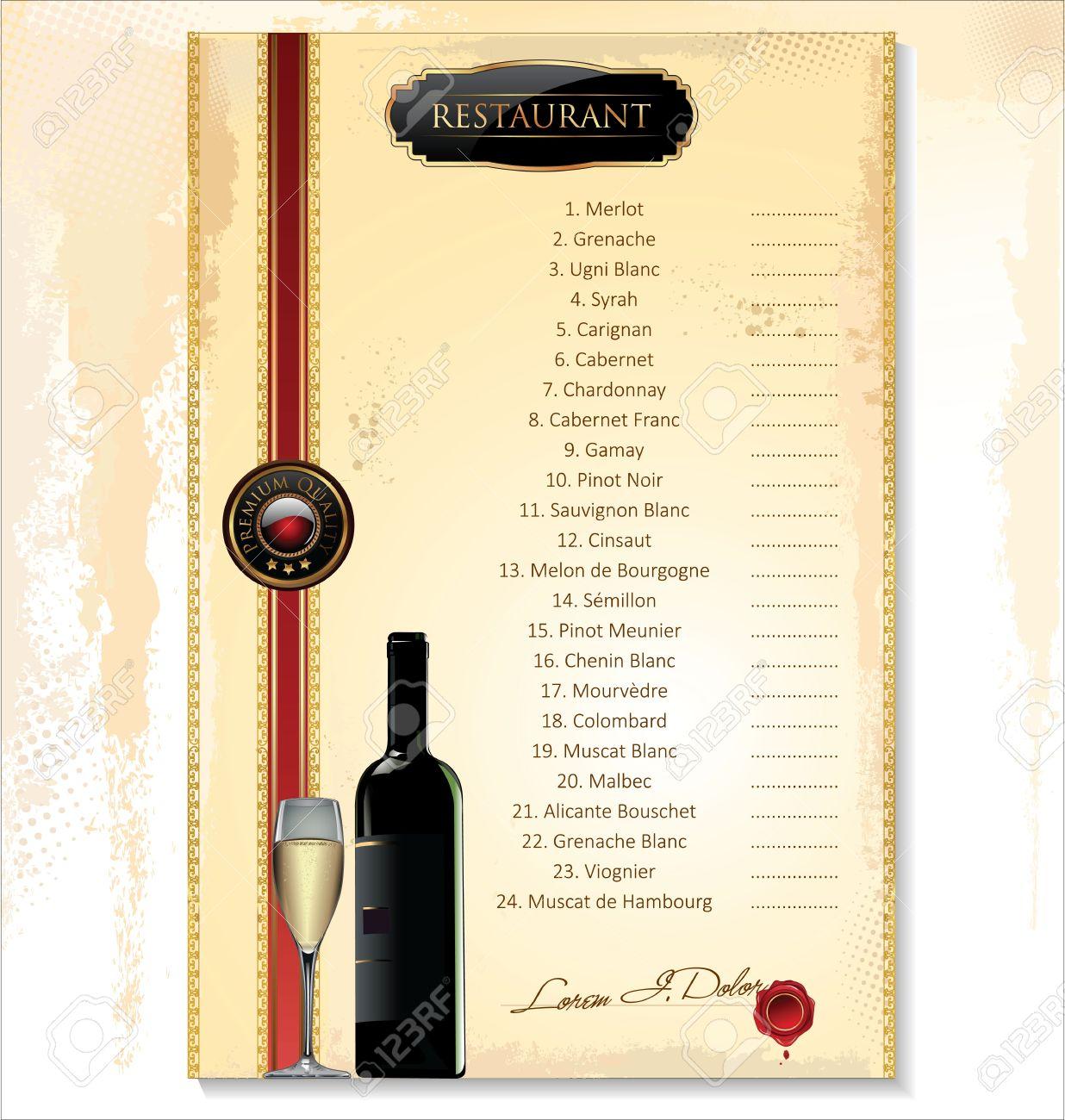 Großartig Wein Menü Vorlage Zeitgenössisch - Entry Level Resume ...
