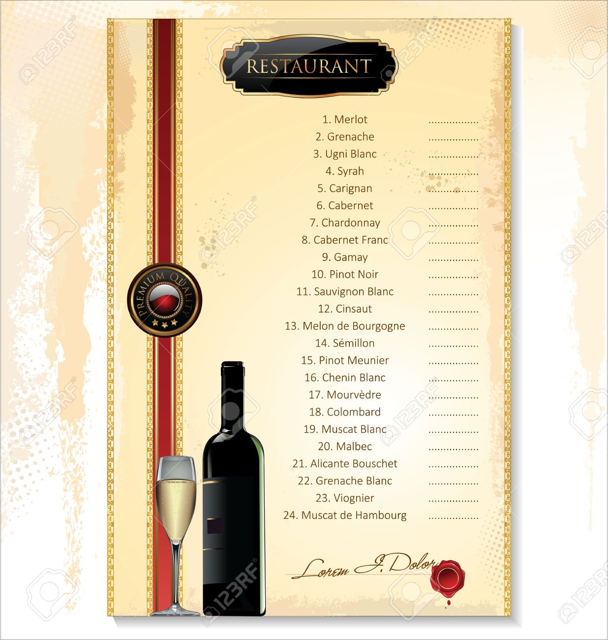 Wine Menu Template With A Price List Stock Vector   19462739  Free Wine List Template