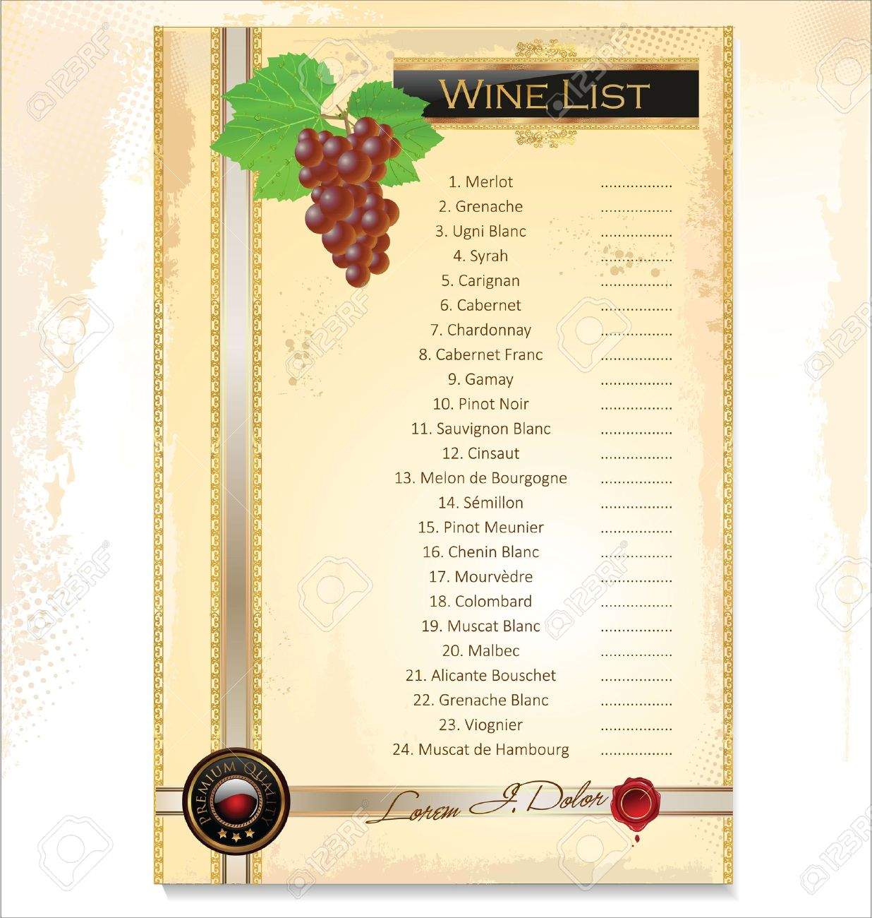 Wine menu template with a price list royalty free cliparts wine menu template with a price list stock vector 19462927 pronofoot35fo Gallery