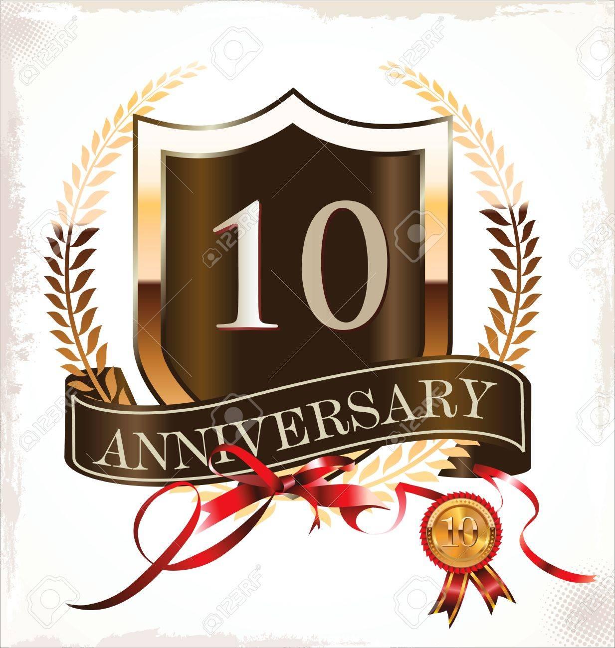 10 years anniversary golden label Stock Vector - 19466010