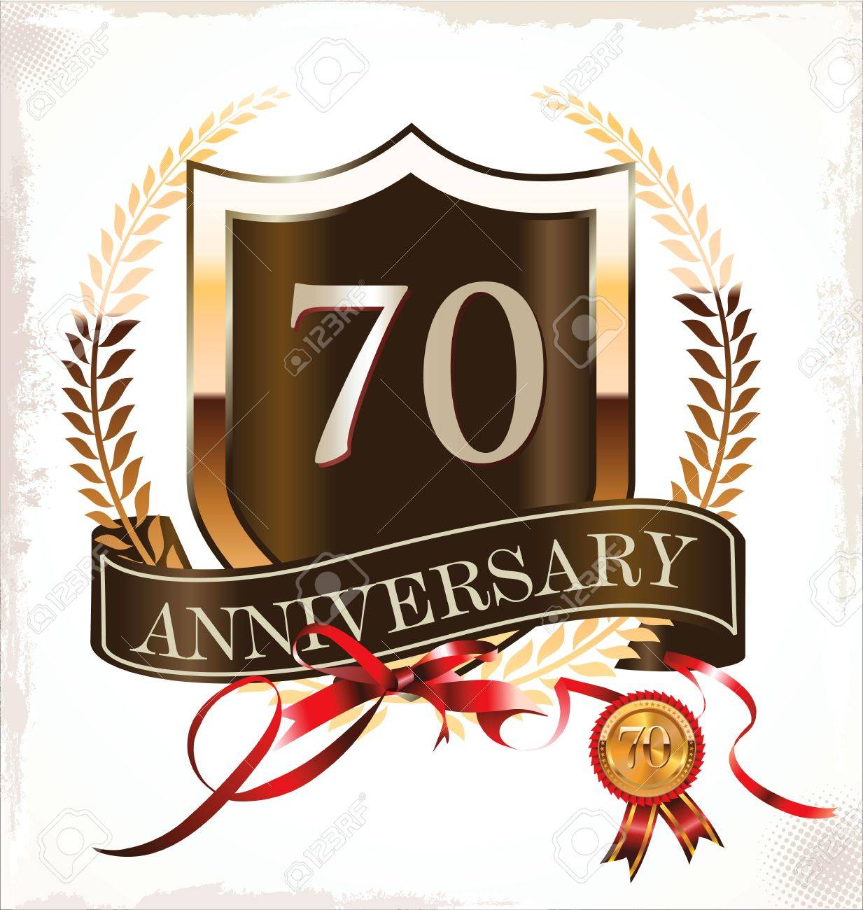 70 years anniversary golden label Stock Vector - 19466017