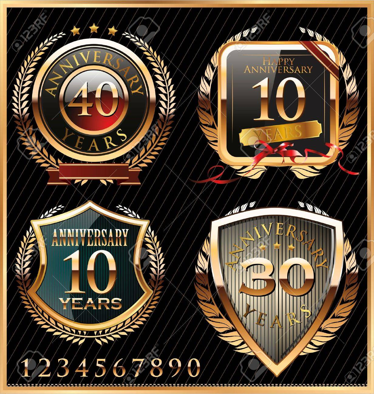 anniversary golden labels Stock Vector - 19466055