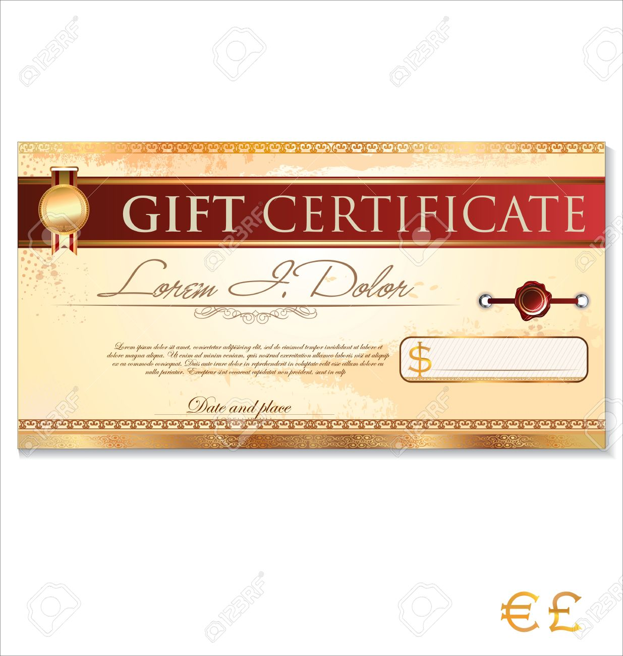gift certificate template stock vector illustration and gift certificate template certificate template illustration