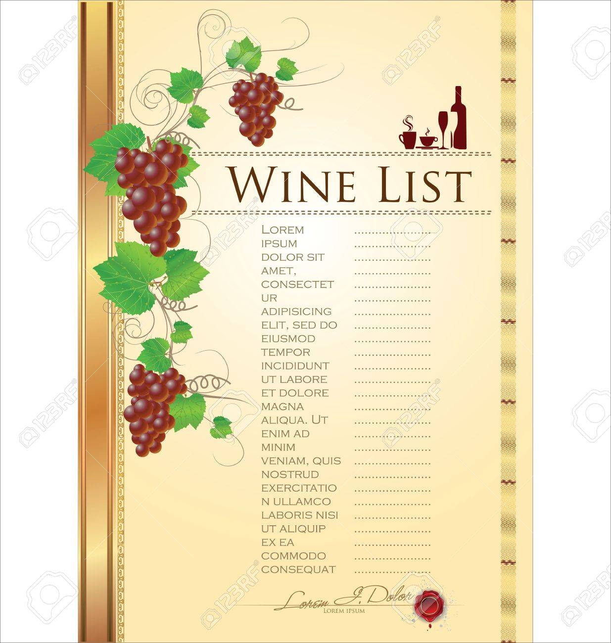 Wine List Menu Card Royalty Free Cliparts, Vectors, And Stock ...