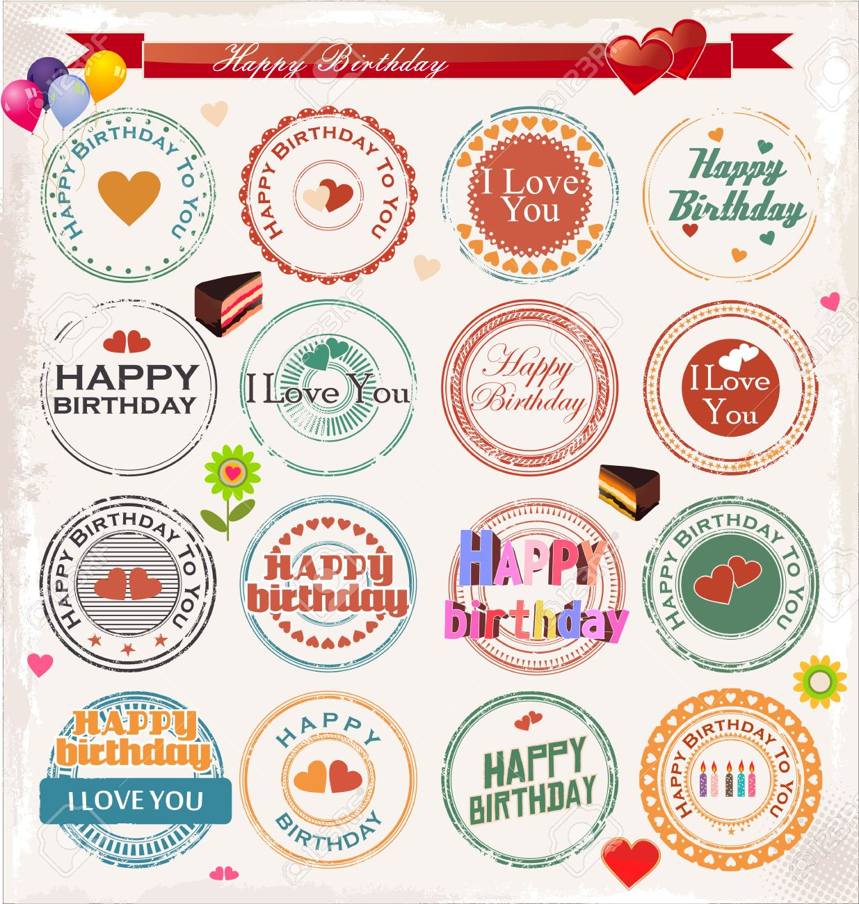 Happy birthday stamp collection Stock Vector - 19566328