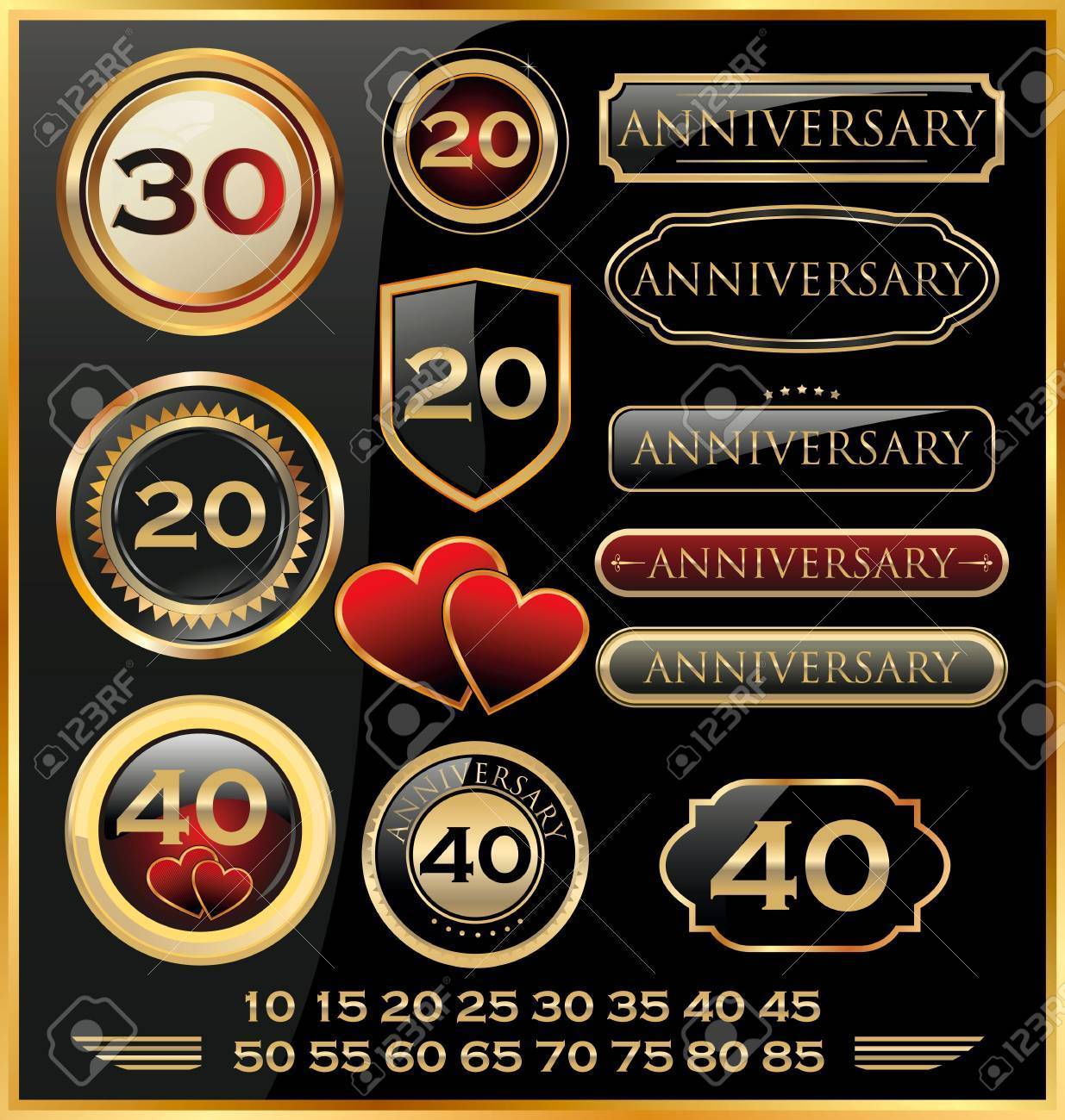 Retro style anniversary sign collection Stock Vector - 19566513