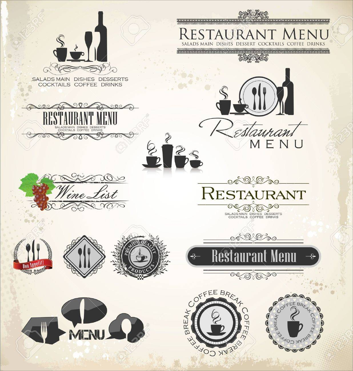 Label set for restaurant Stock Vector - 19566577