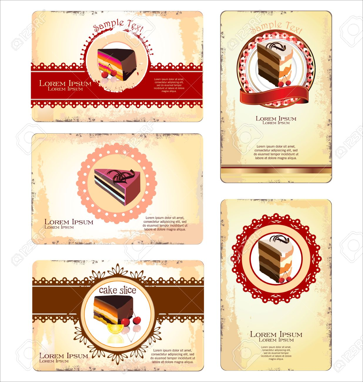 Coffeetea And Cakes Menu Or Business Card Template Royalty Free - Cake business card template