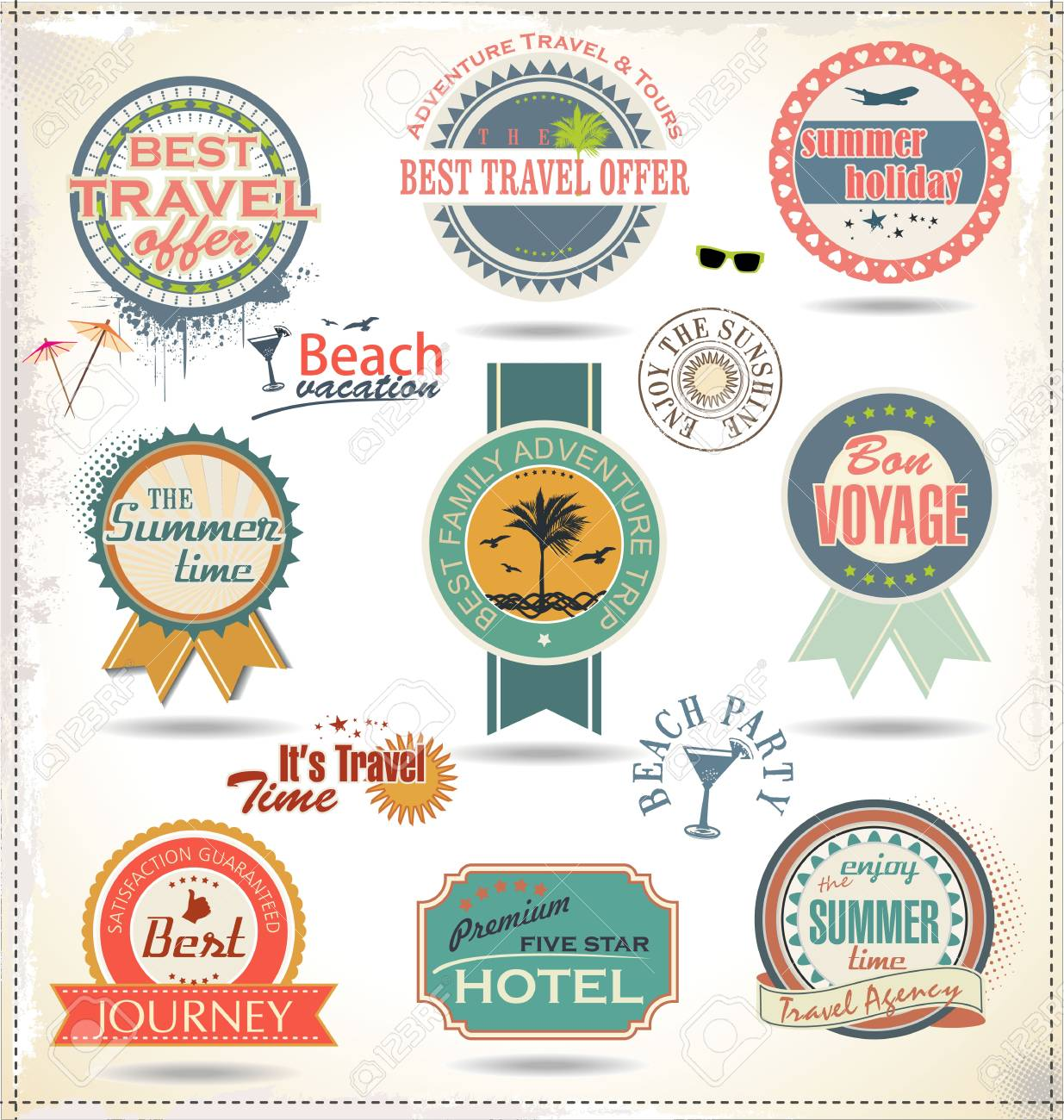 Vintage summer labels Stock Vector - 19890541