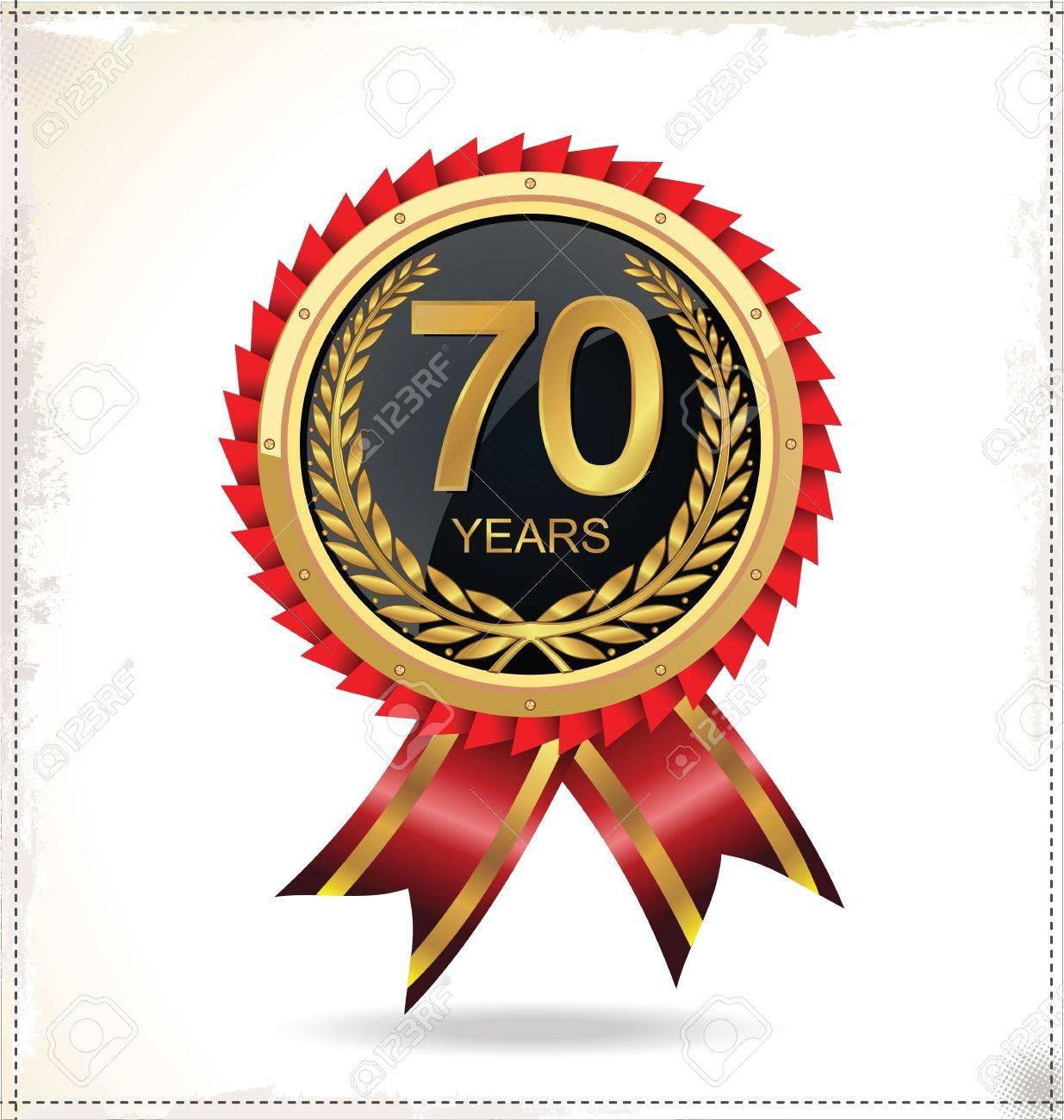 Anniversary golden label Stock Vector - 20882782