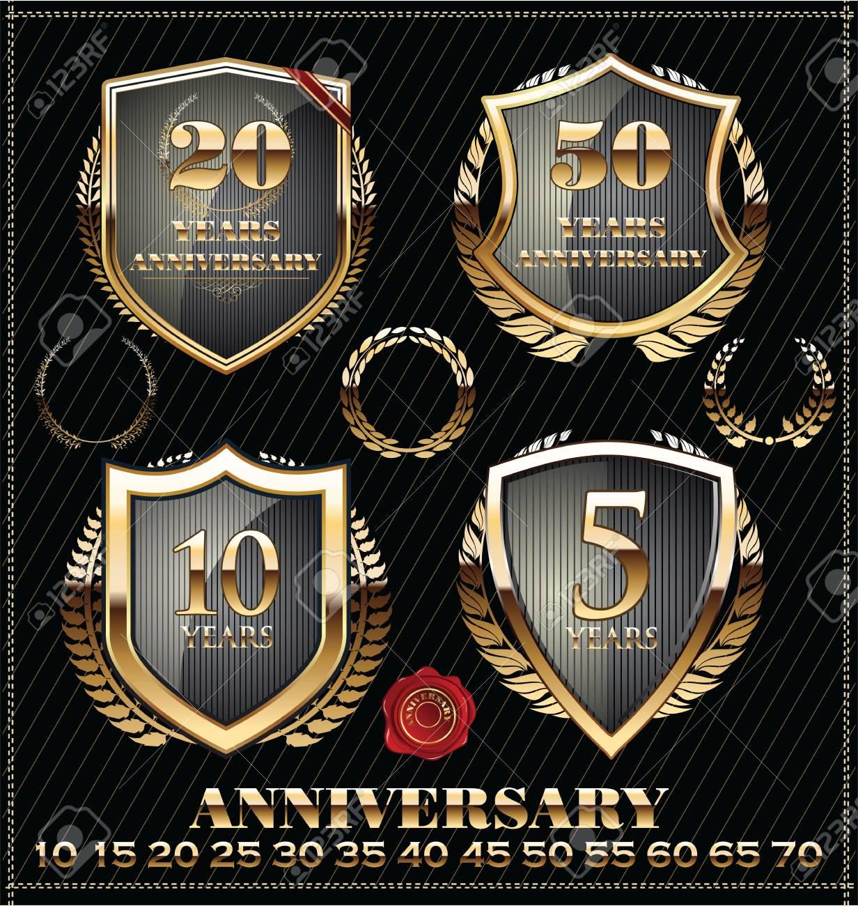 Anniversary golden label Stock Vector - 21723749