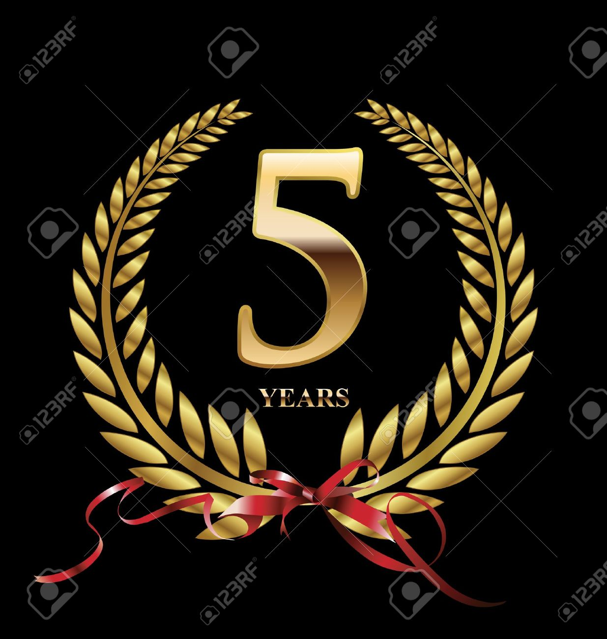 5 Years Anniversary Golden Label Royalty Free Cliparts Vectors And