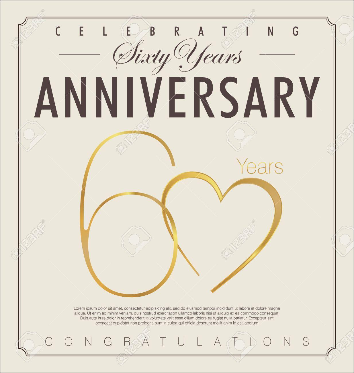Anniversario 60 Anni Matrimonio.Vettoriale 60 Anni Anniversario Sfondo Retro Image 22545177