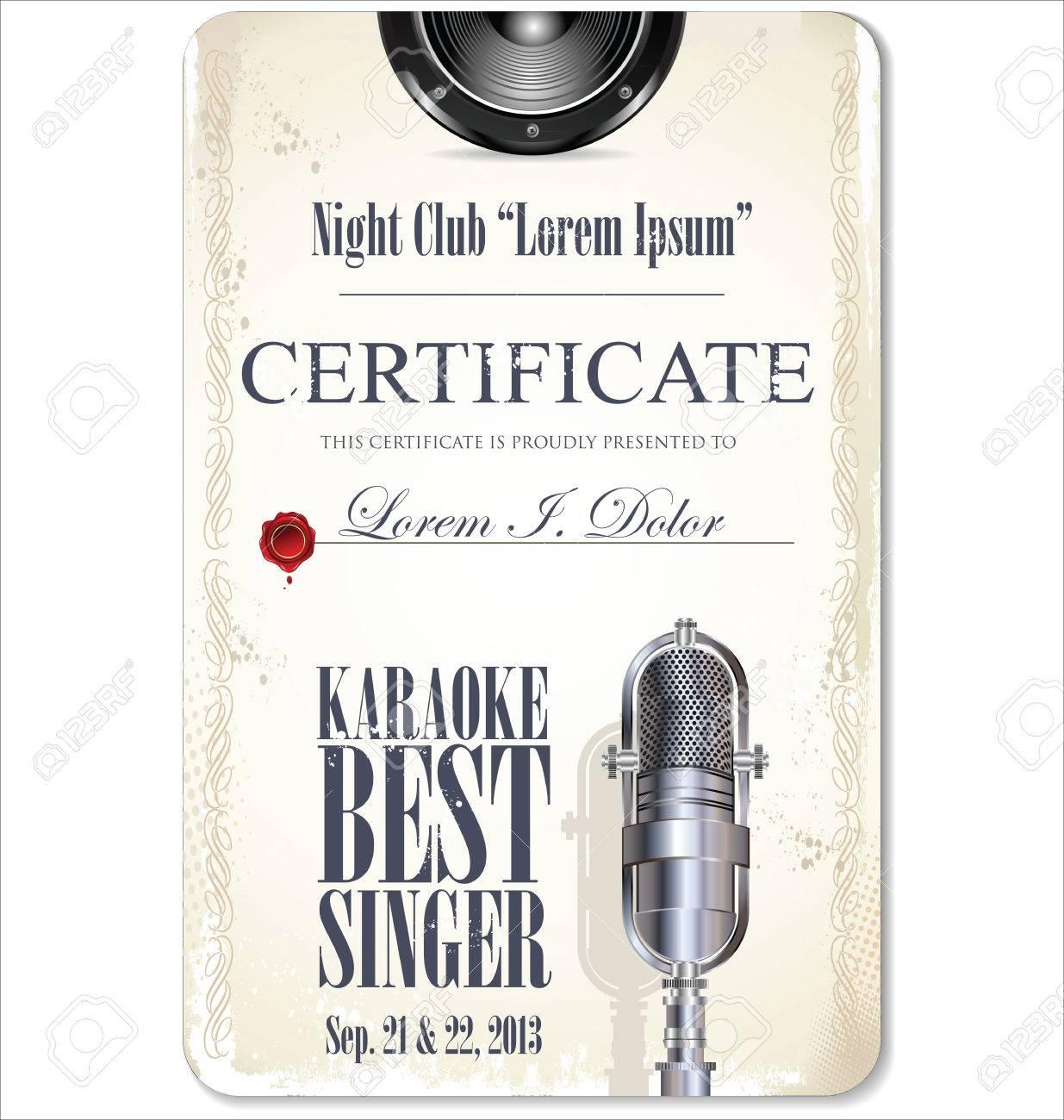 First award certificate karaoke template Stock Vector - 23384789