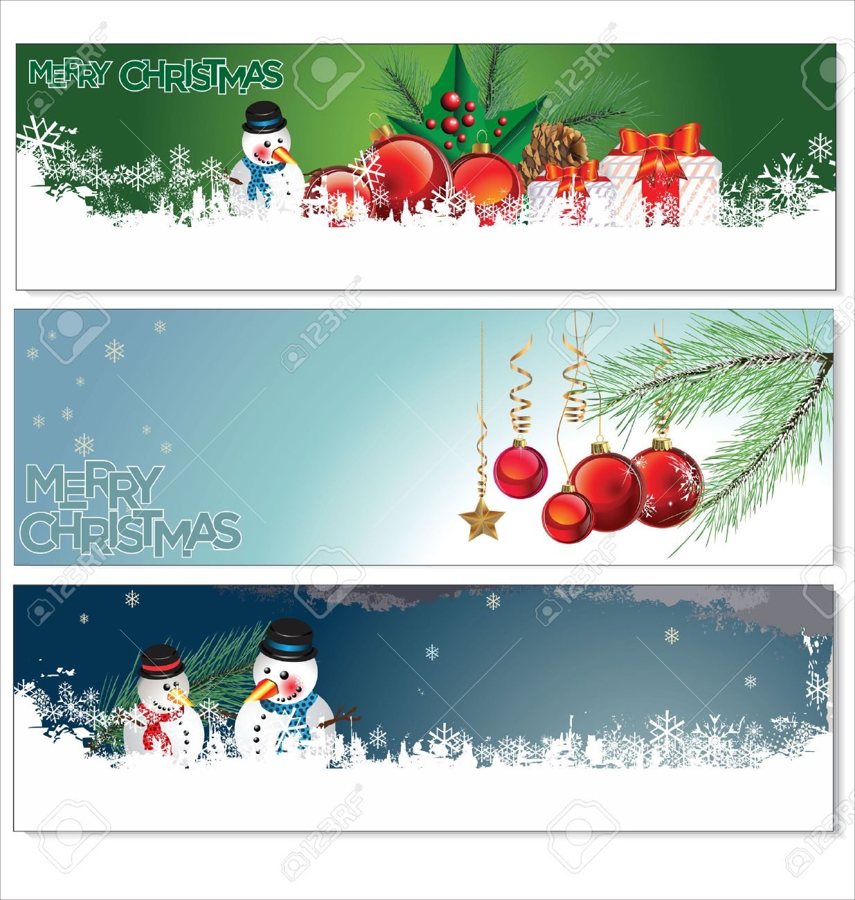 Merry Christmas Banners Set Design Royalty Free Cliparts, Vectors ...