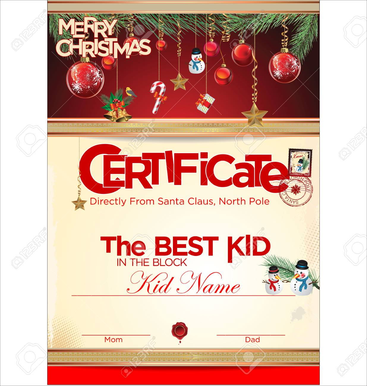 Certificate Template, The Best Kid Royalty Free Cliparts, Vectors ...