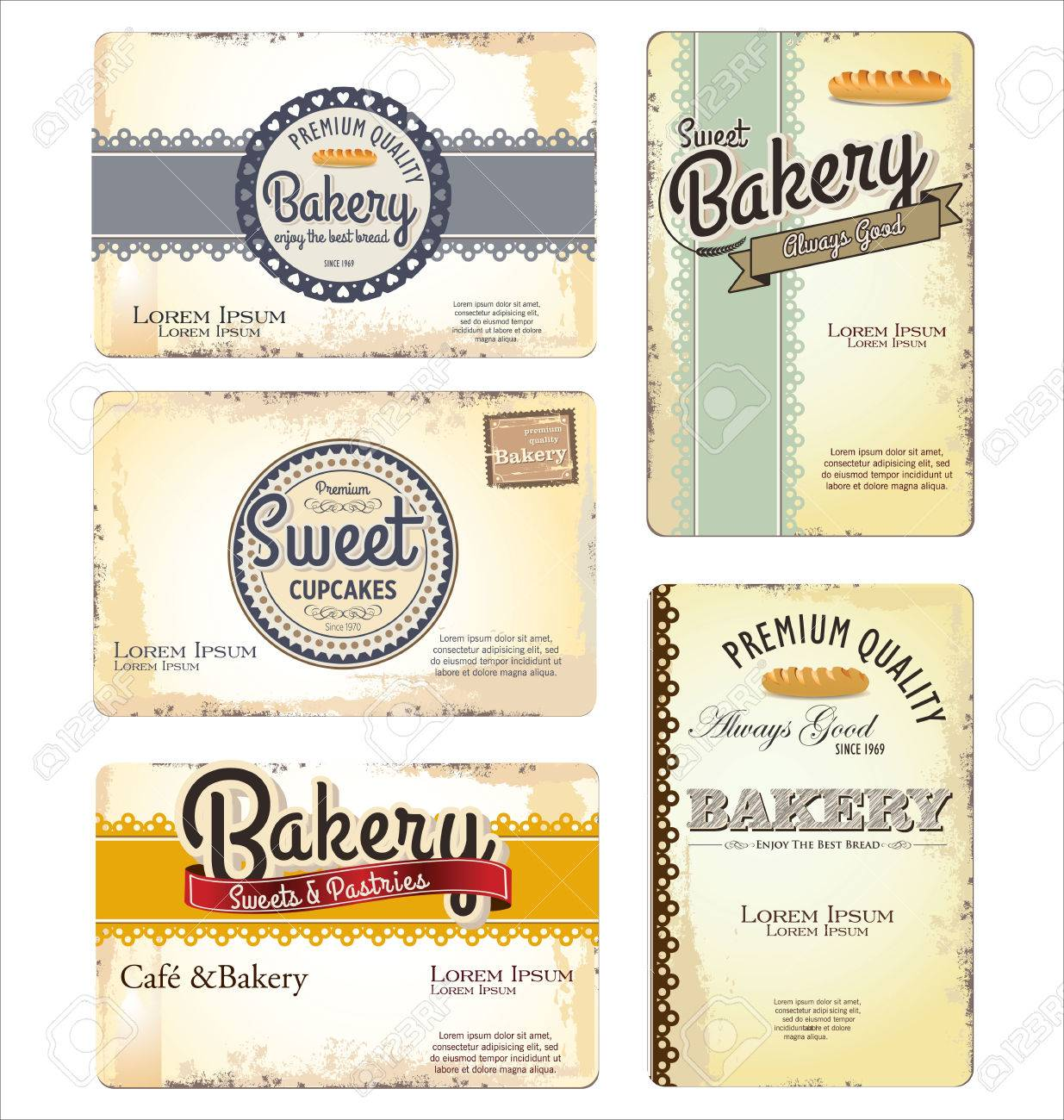 Set of 5 bakery retro business card templates royalty free cliparts set of 5 bakery retro business card templates stock vector 24926267 accmission Gallery