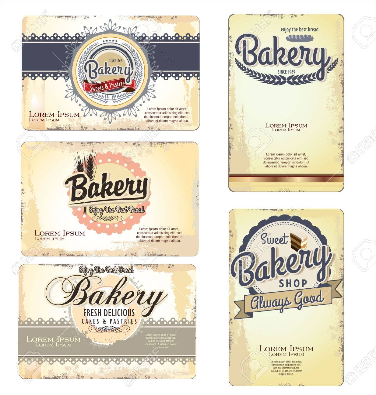 Set of 5 bakery retro business card templates royalty free cliparts set of 5 bakery retro business card templates stock vector 24926266 wajeb Choice Image