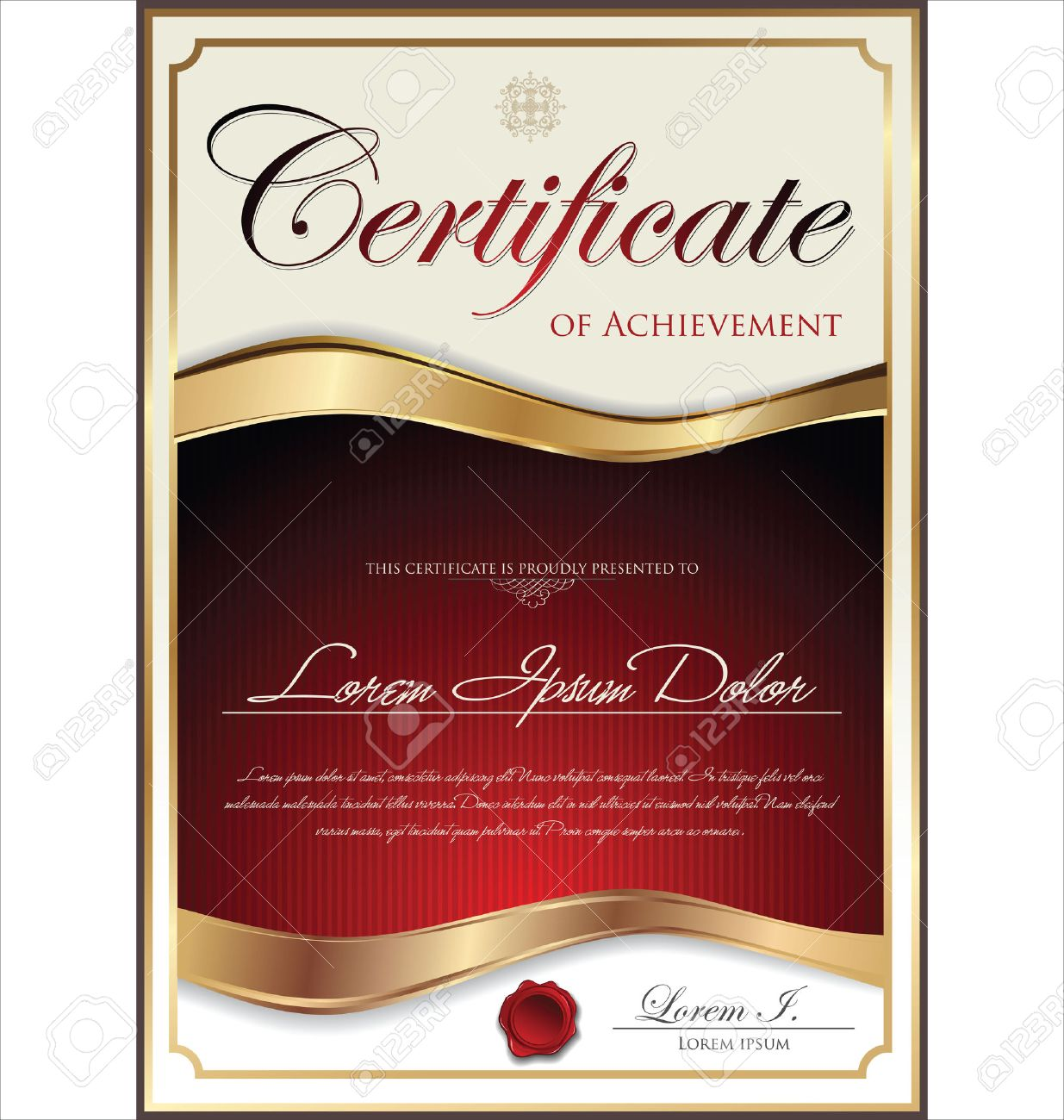 Red And Gold Certificate Template Royalty Free Cliparts Vectors