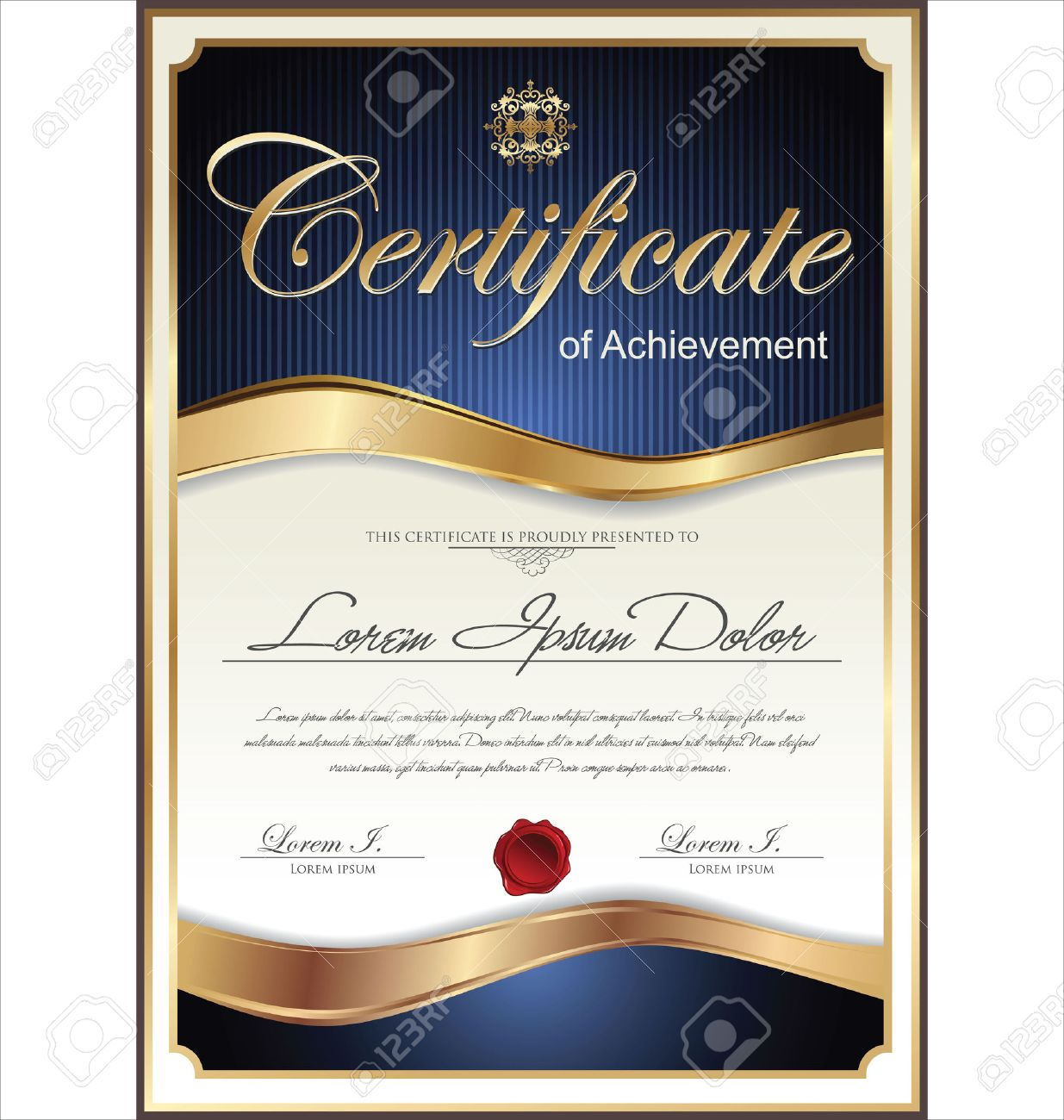 Blue And Gold Certificate Template Royalty Free Cliparts Vectors