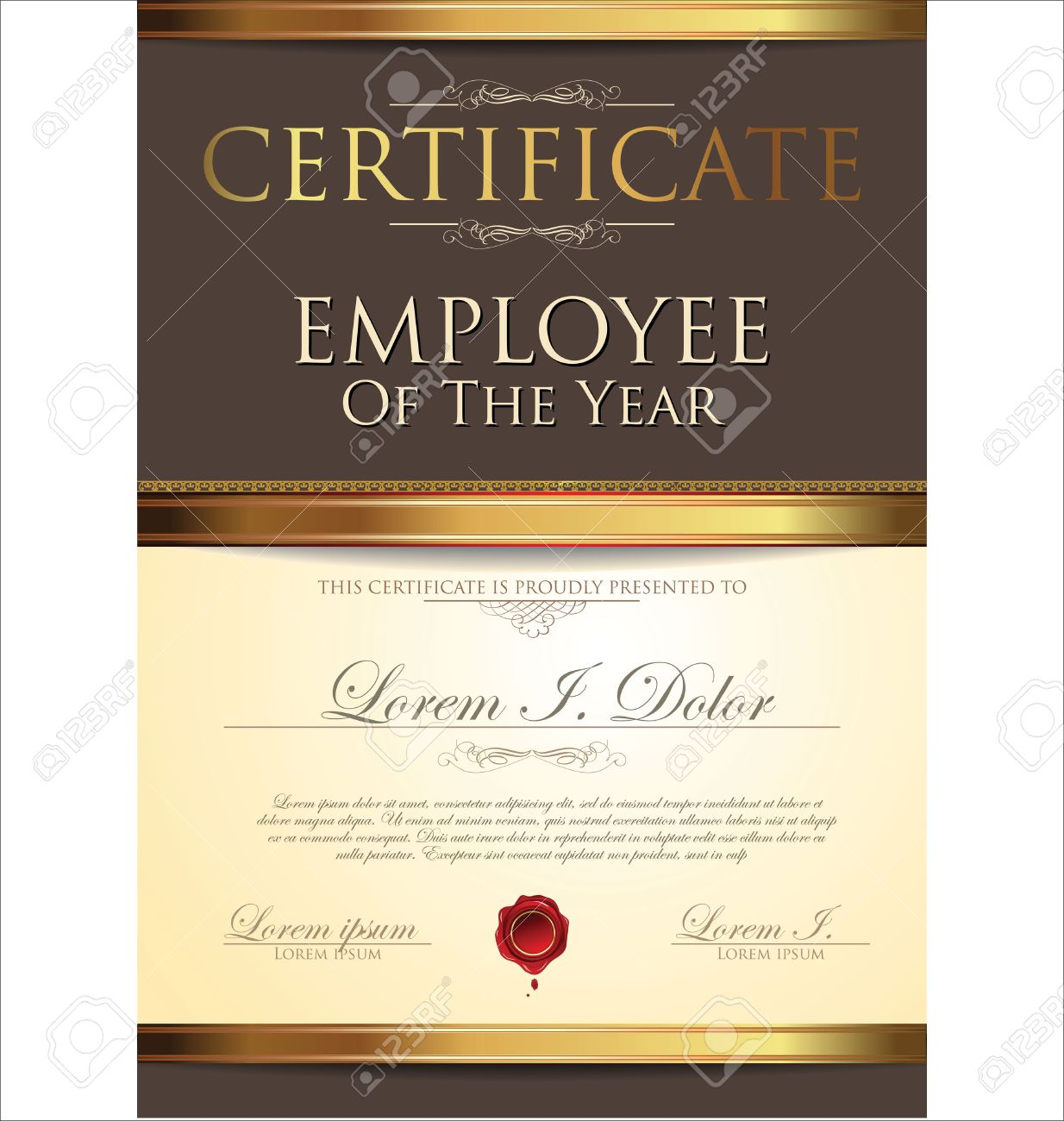 Award certificate stock photos royalty free award certificate certificate template employee of the year 1betcityfo Images