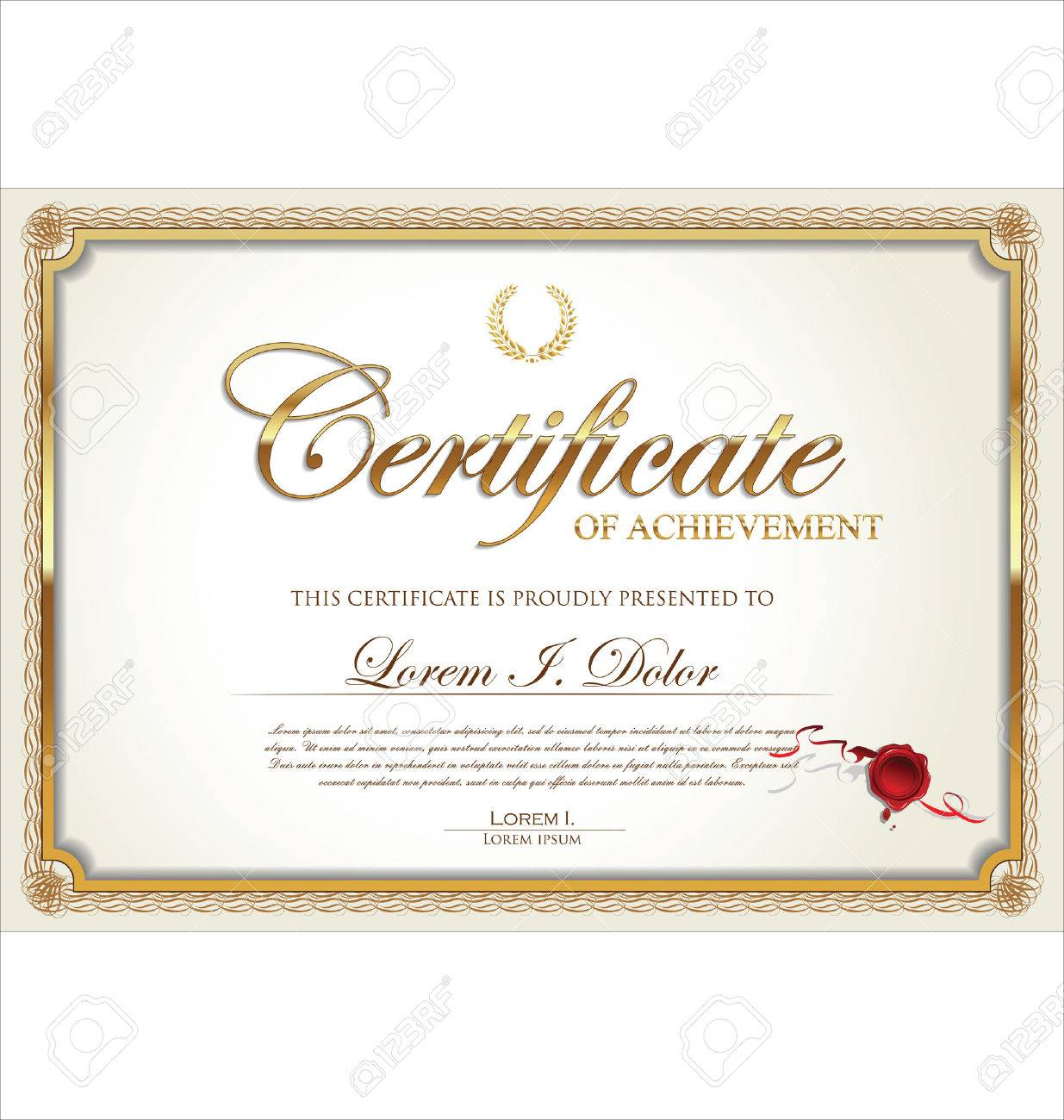 Golden Certificate Of Achievement Template Vector Illustration