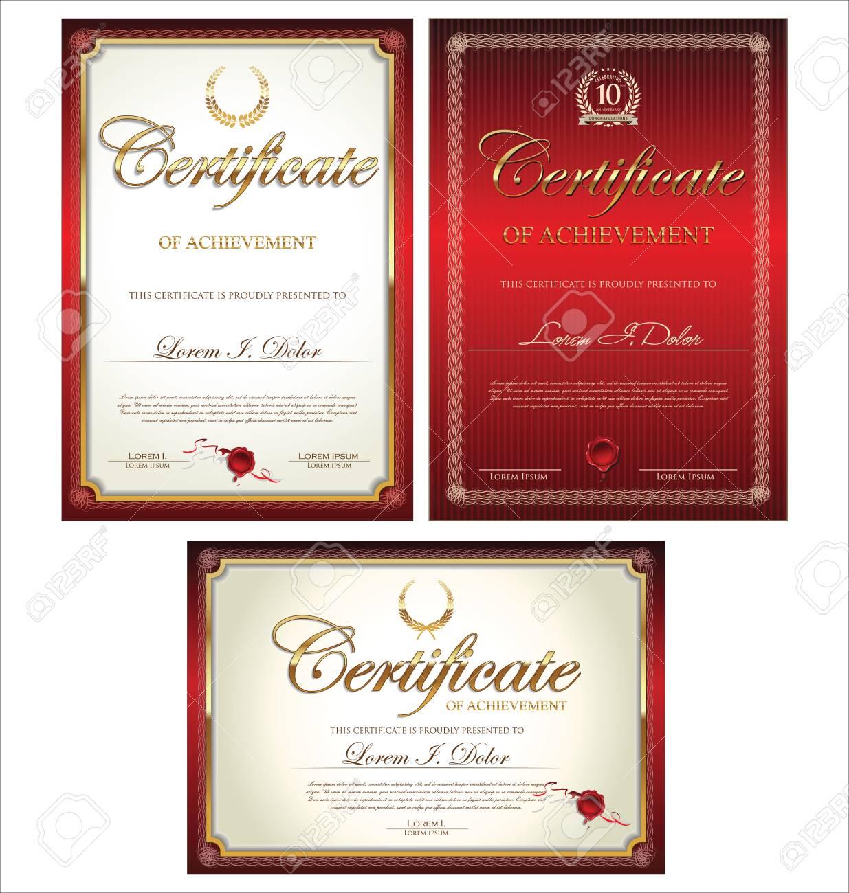 Red Zertifikatvorlage Sammlung Lizenzfrei Nutzbare Vektorgrafiken ...
