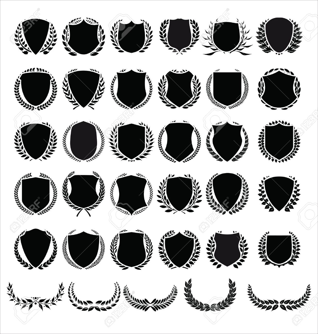 Vector medieval shields and laurel wreaths collection - 42441651