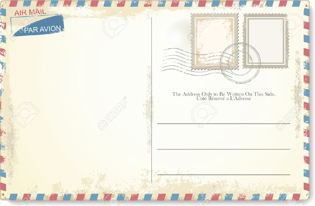 Postcard vector in air mail style - 43200974