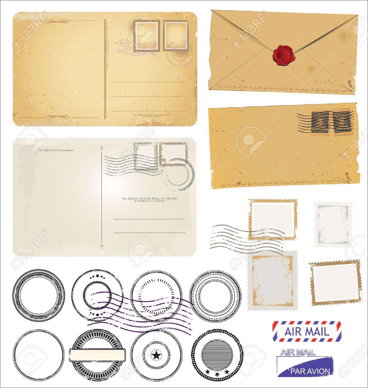 Vintage postcard designs envelopes and black stamps - 50076935