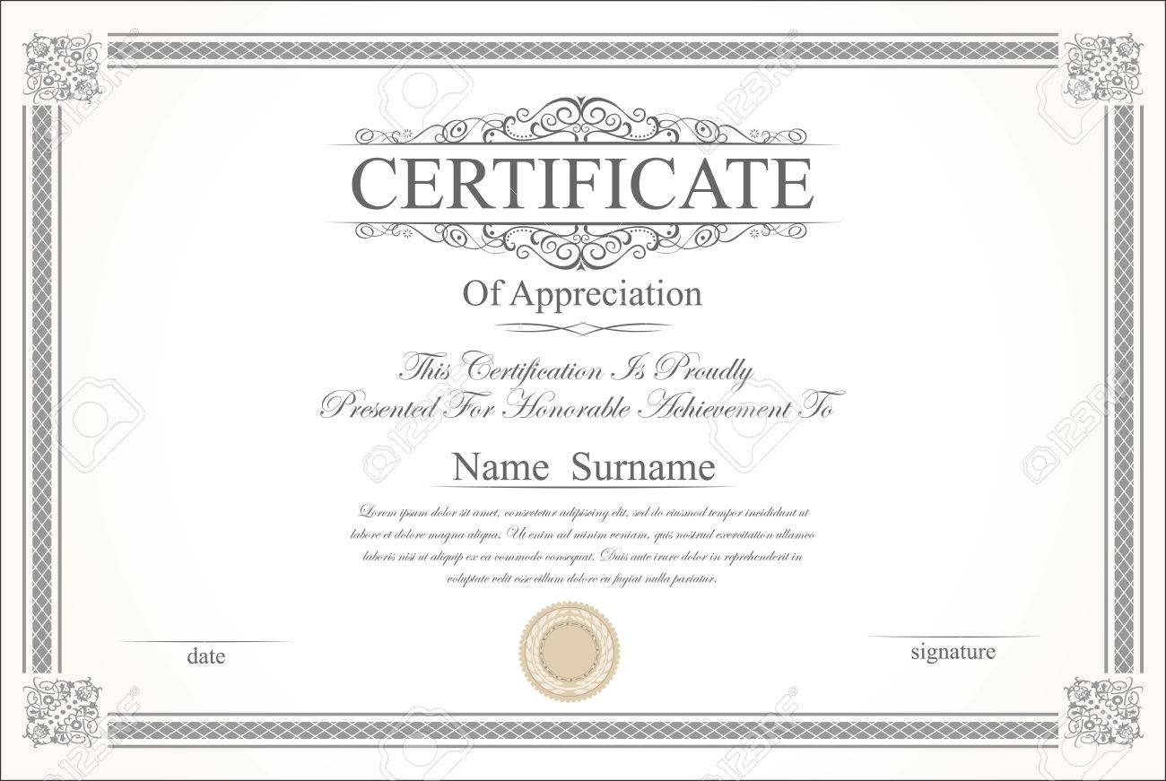 Retro Vintage Certificate Or Diploma Template Royalty Free Cliparts