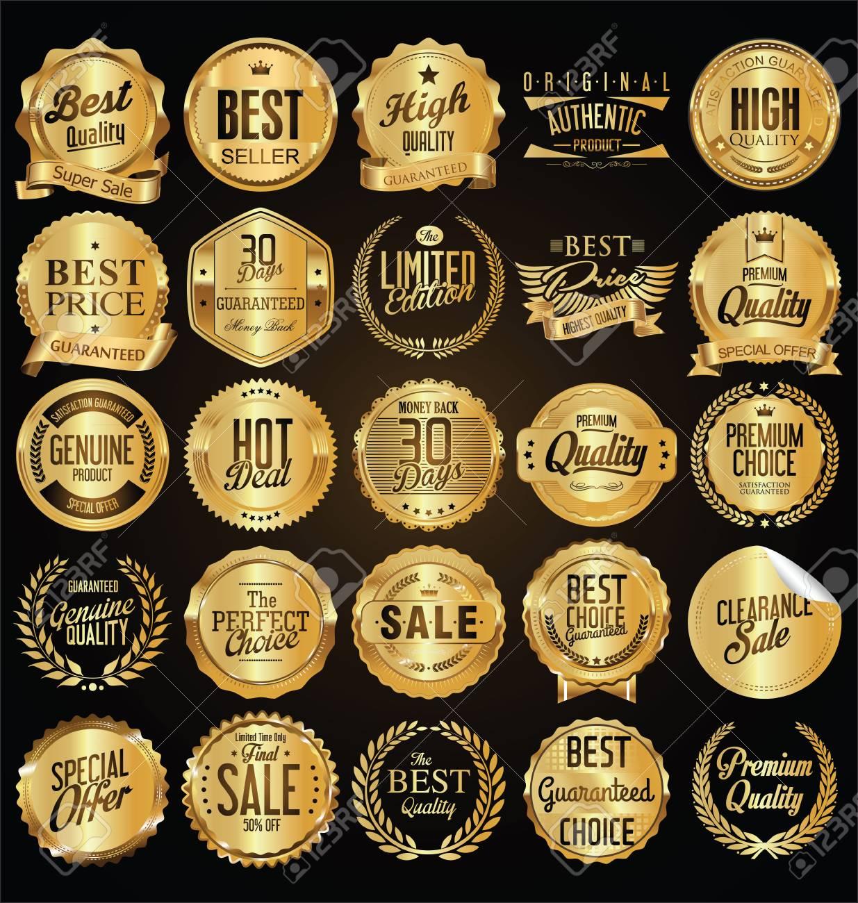 Retro vintage golden badges vector illustration collection - 93020569