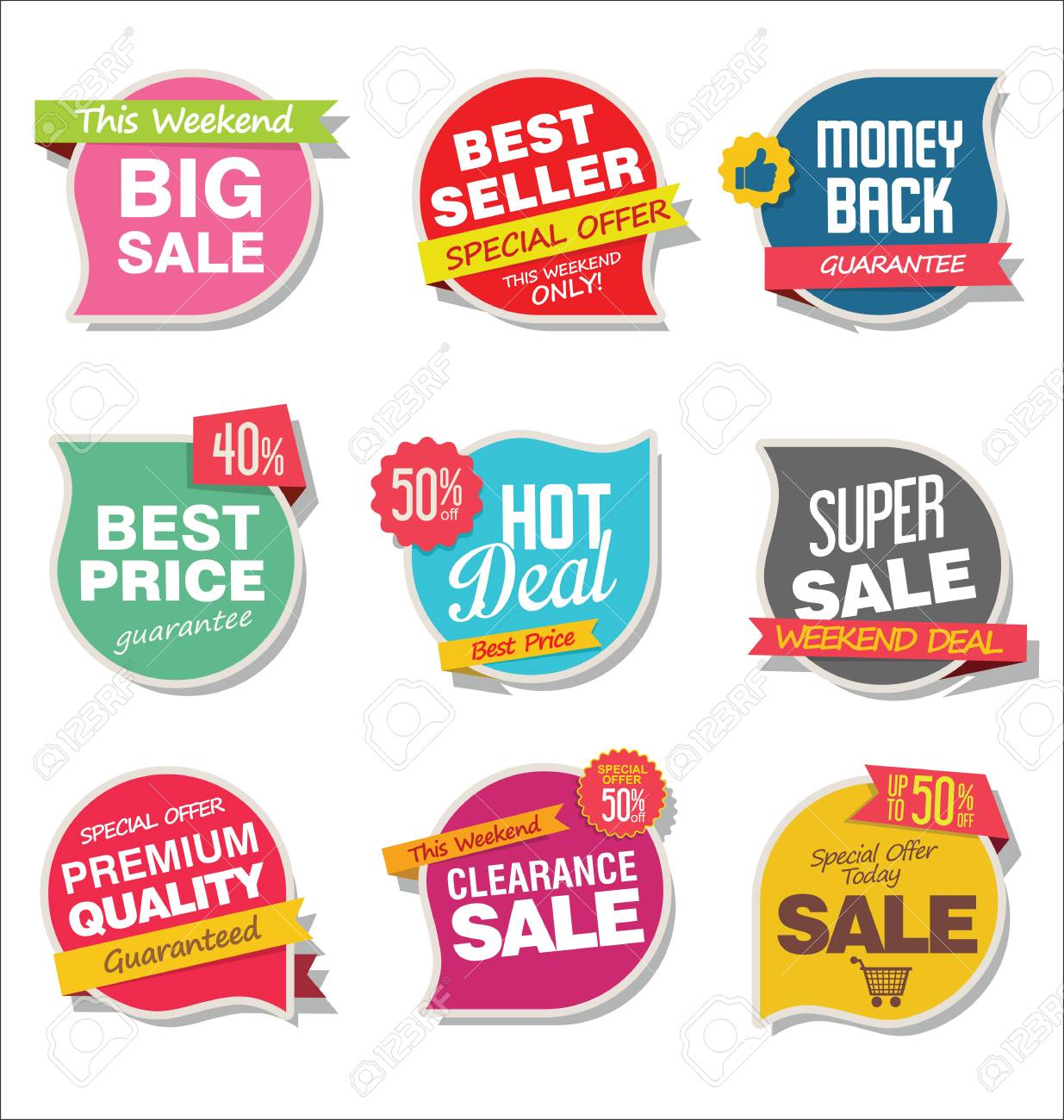 Modern sale stickers and tags colorful collection - 95984058