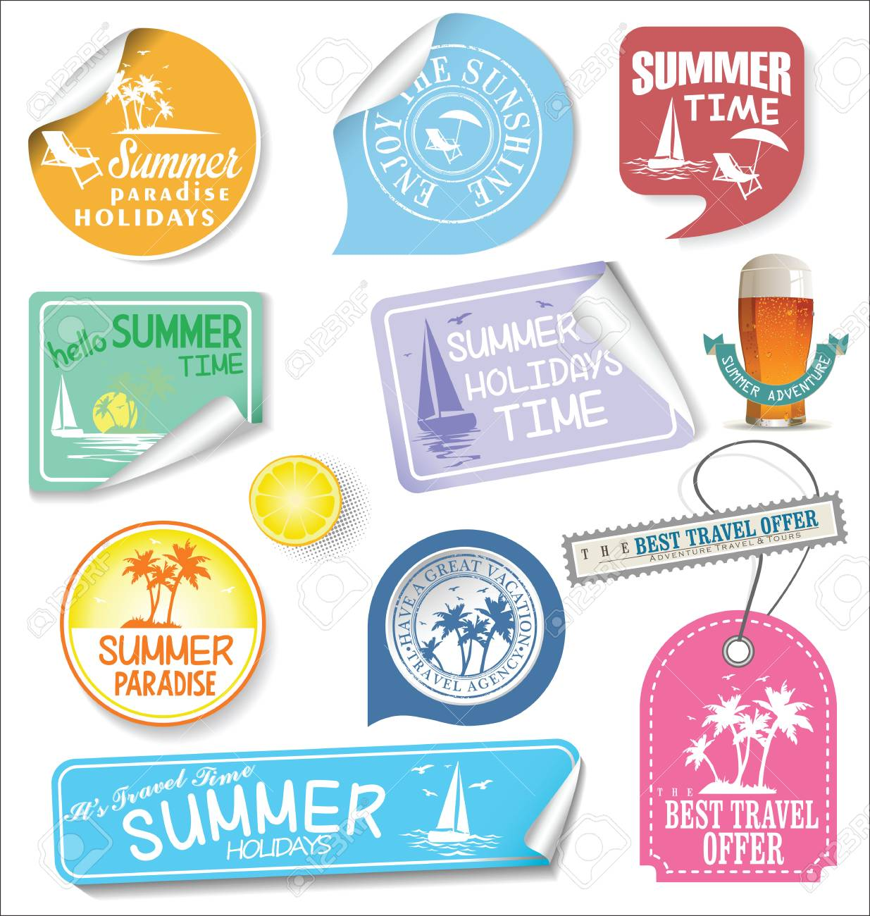 summer design labels and typography design templates royalty free