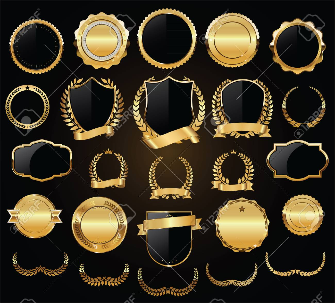 Golden shields laurel wreaths and badges vector collection - 105226024