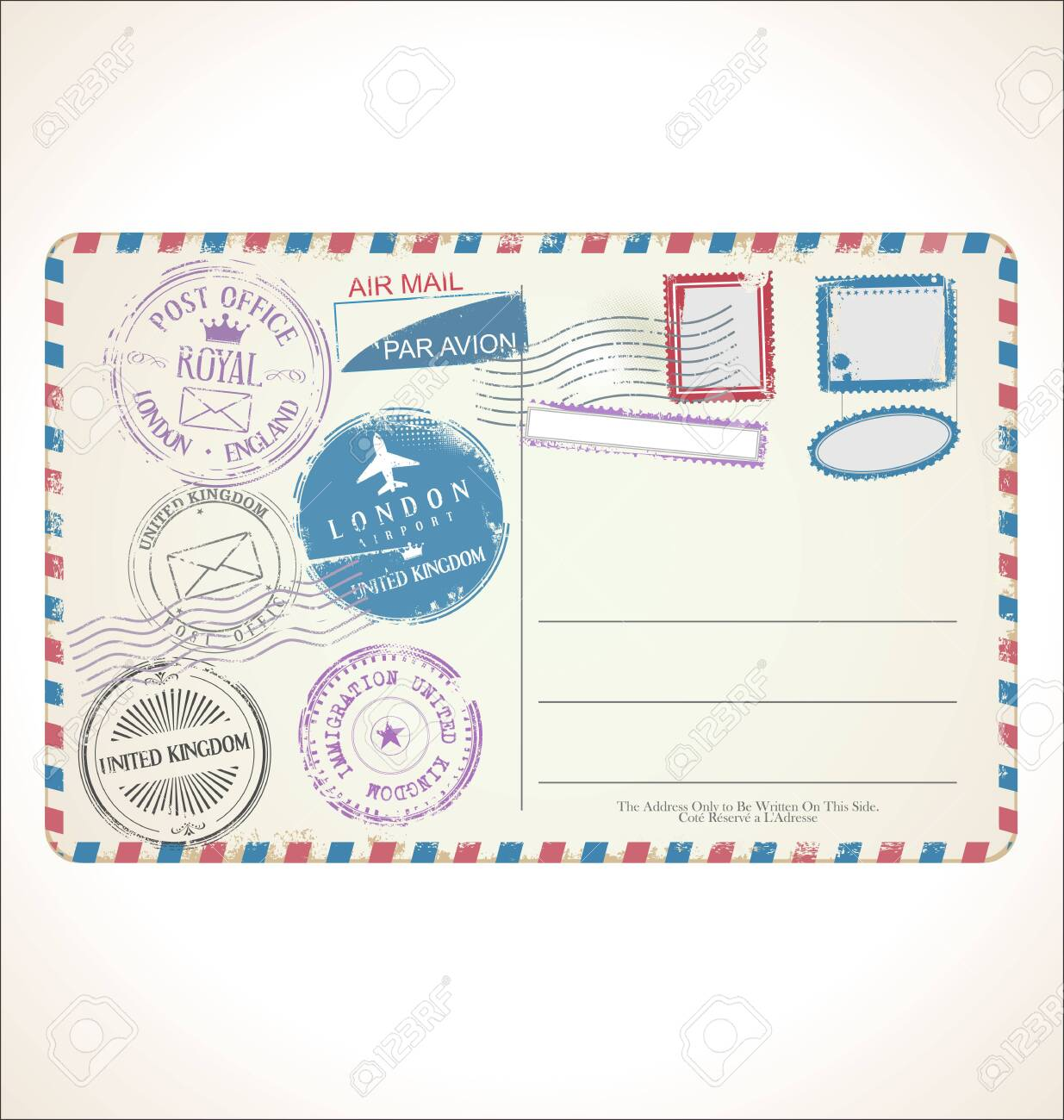 Postal stamp and post card on white background mail post office air mail - 125507371