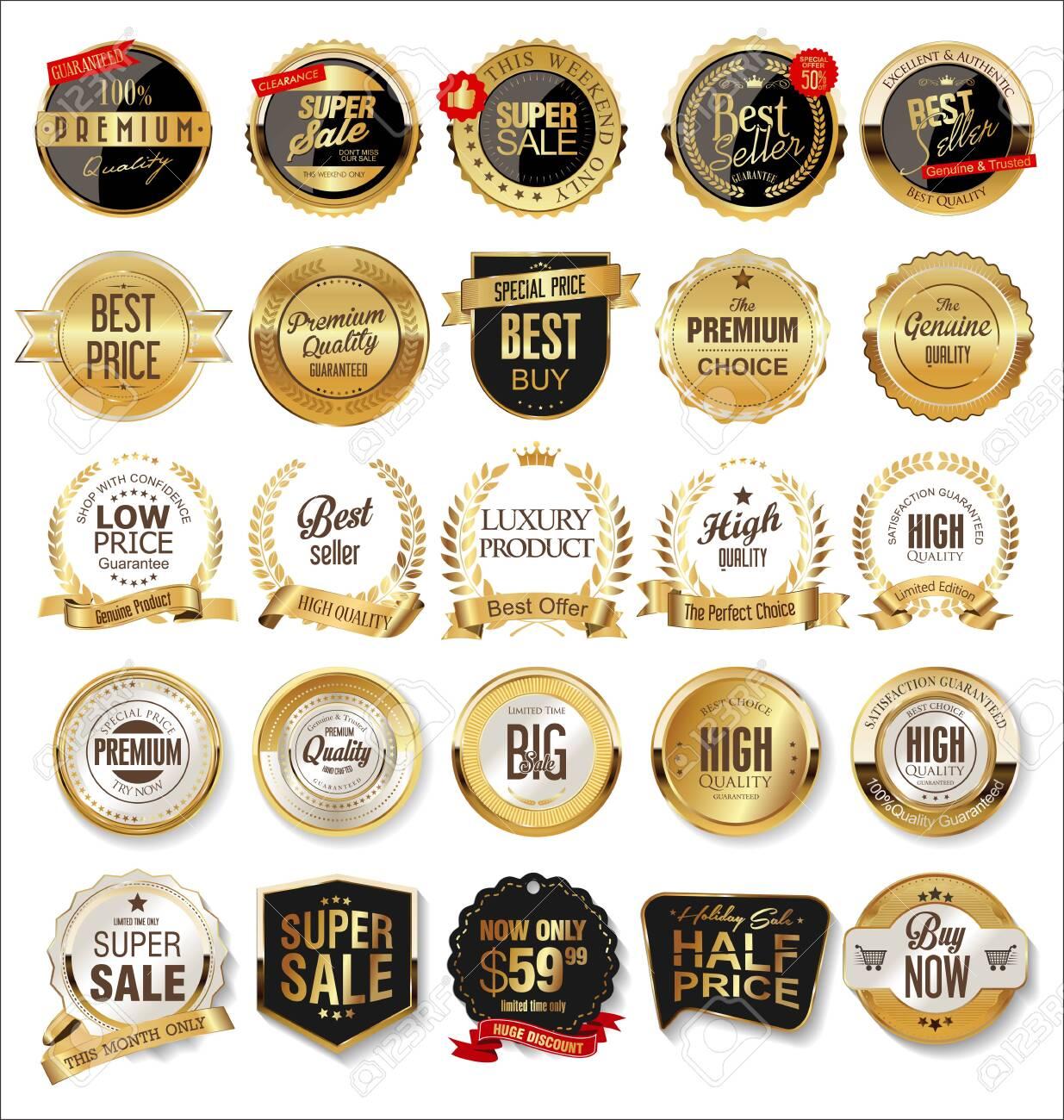Luxury premium golden badges and labels - 125690609