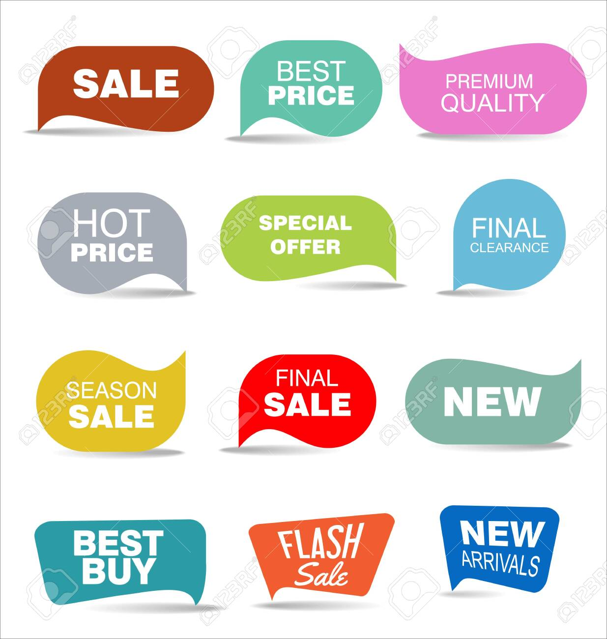modern colorful sale stickers collection - 128722157