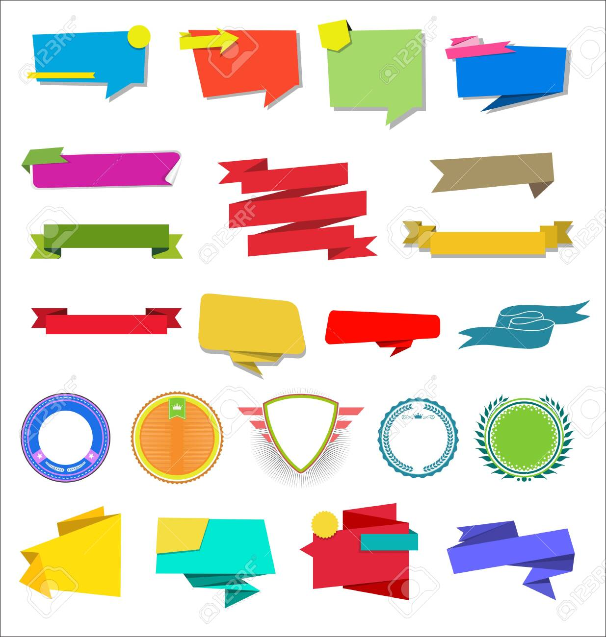 A collection of various ribbons labels and badges - 128722324