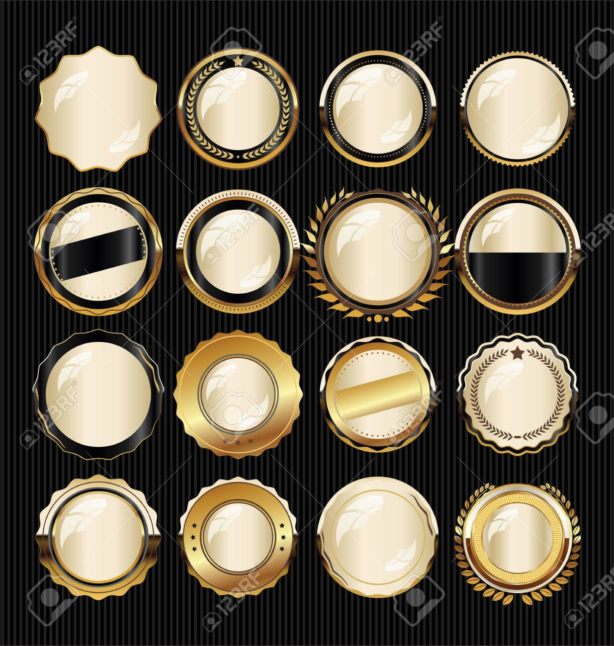 Golden badge and labels - 128722328