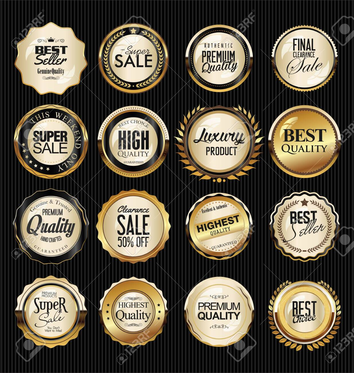 Golden badge and labels - 128722480