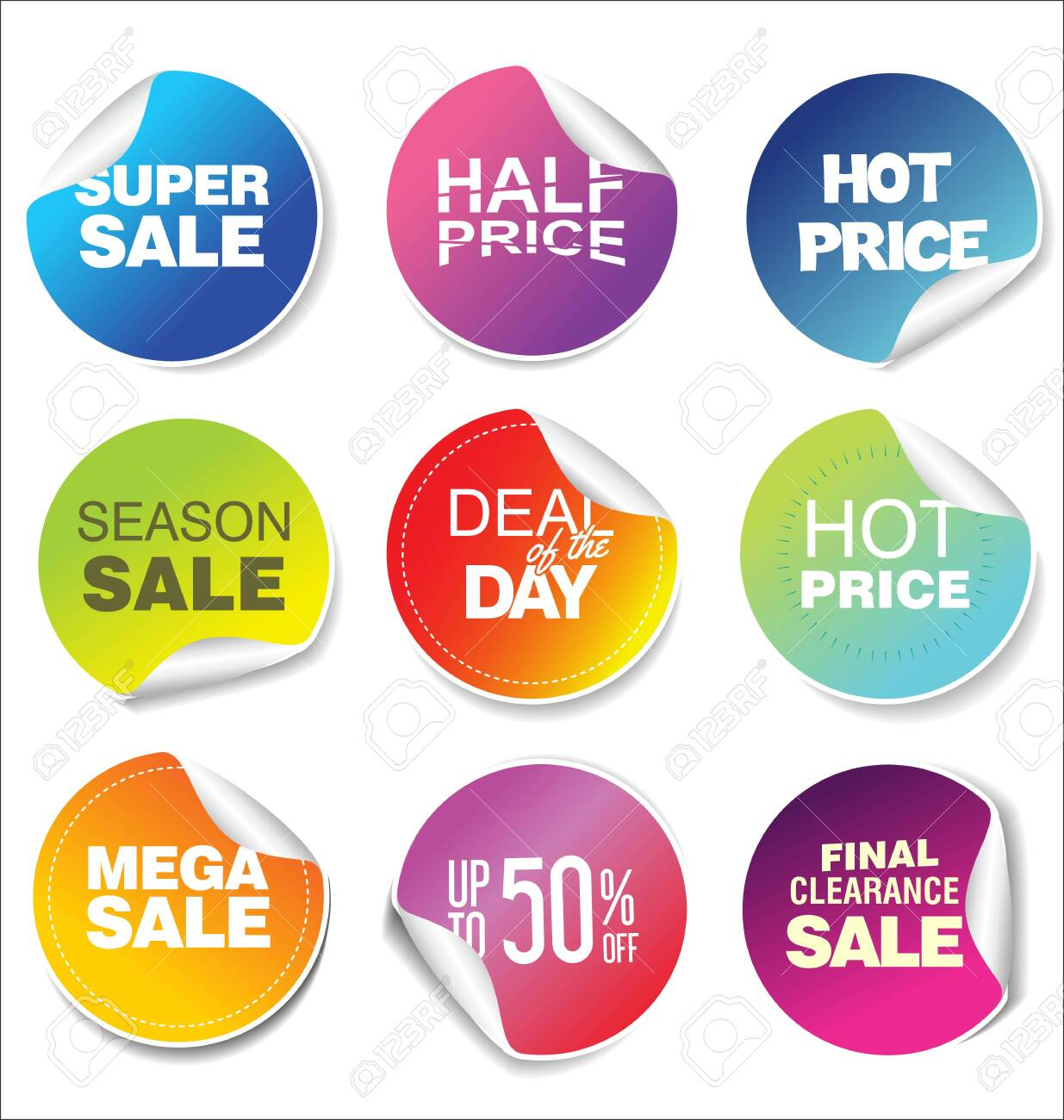 modern colorful sale stickers collection - 131078791