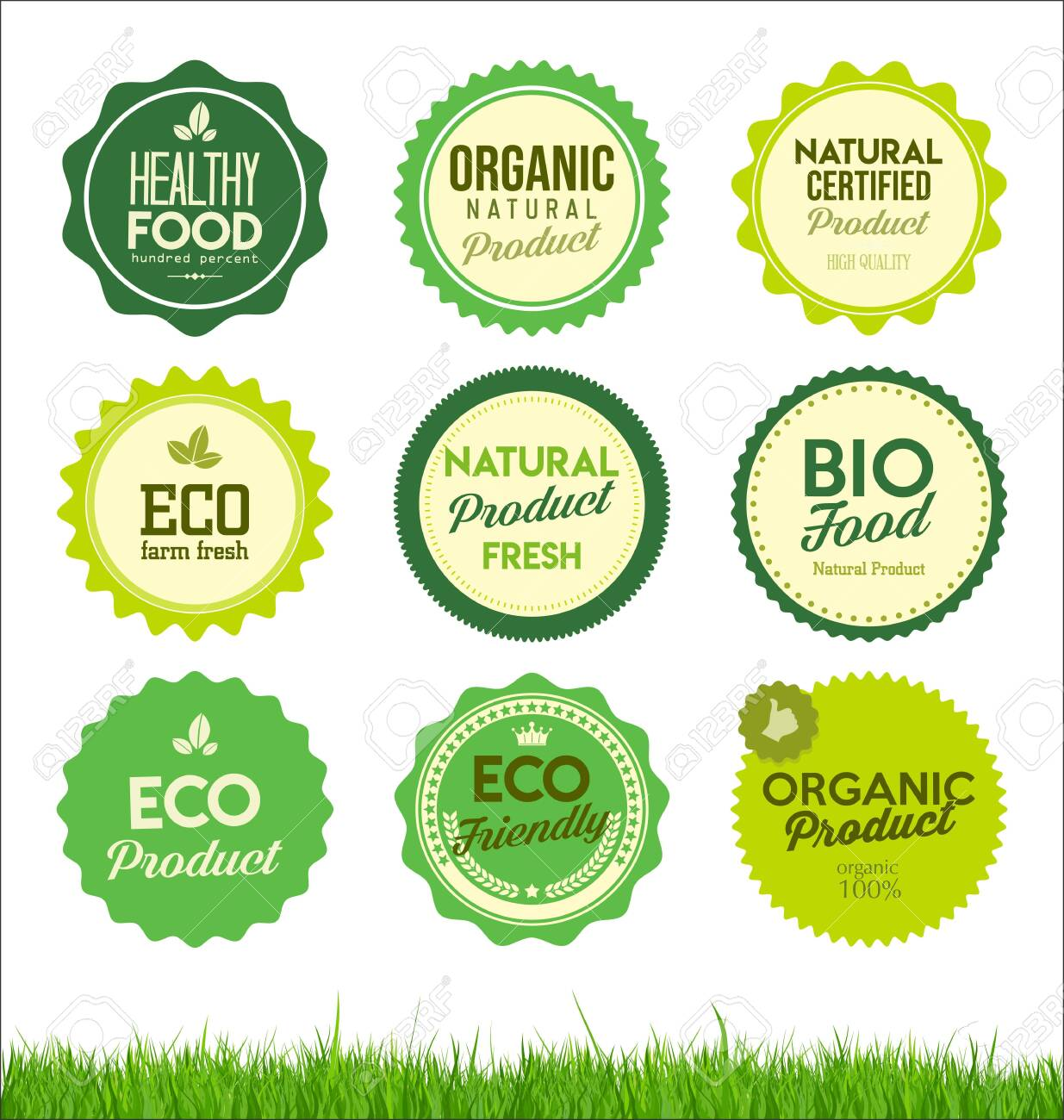 set healthy organic farm fresh product badges - 131609364