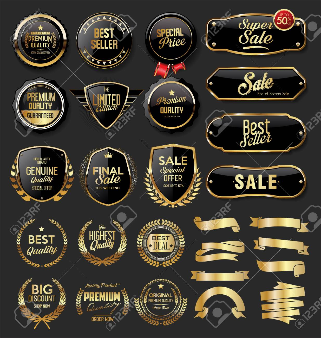 Gold and black badges and labels - 133103485