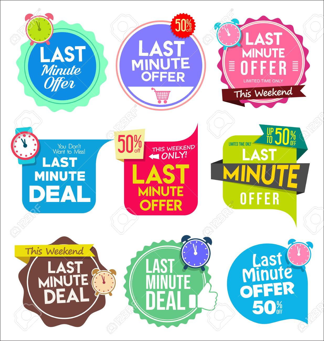 Modern colorful tags and stickers last minute offer - 134755363