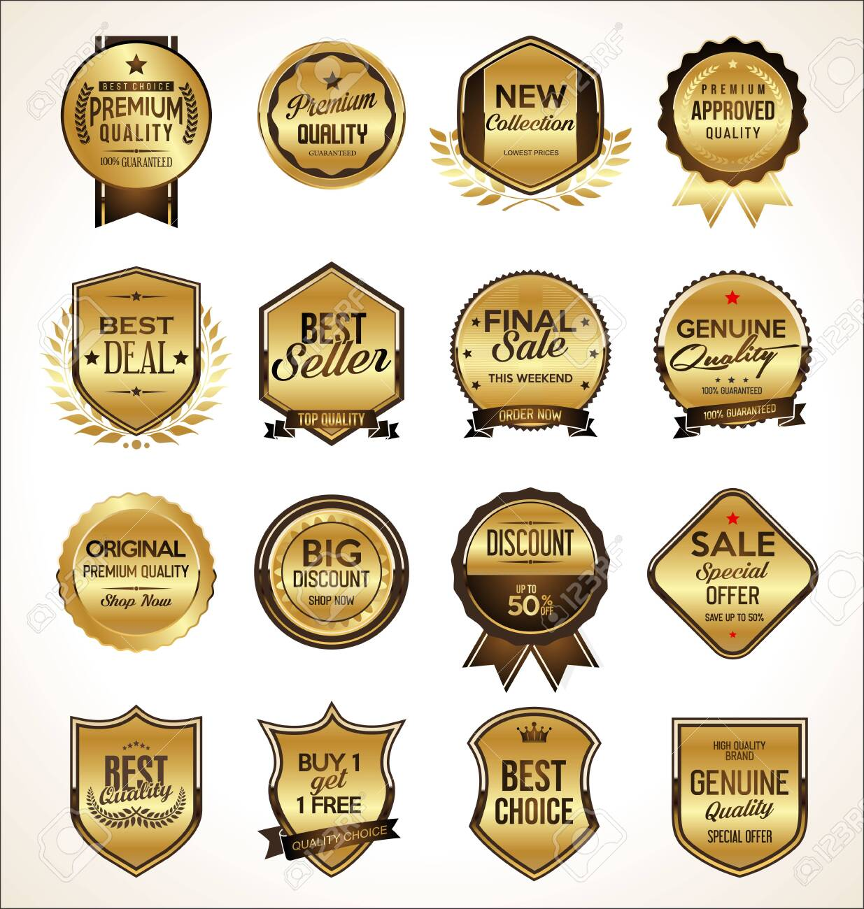 Luxury premium golden badges and labels - 134755383