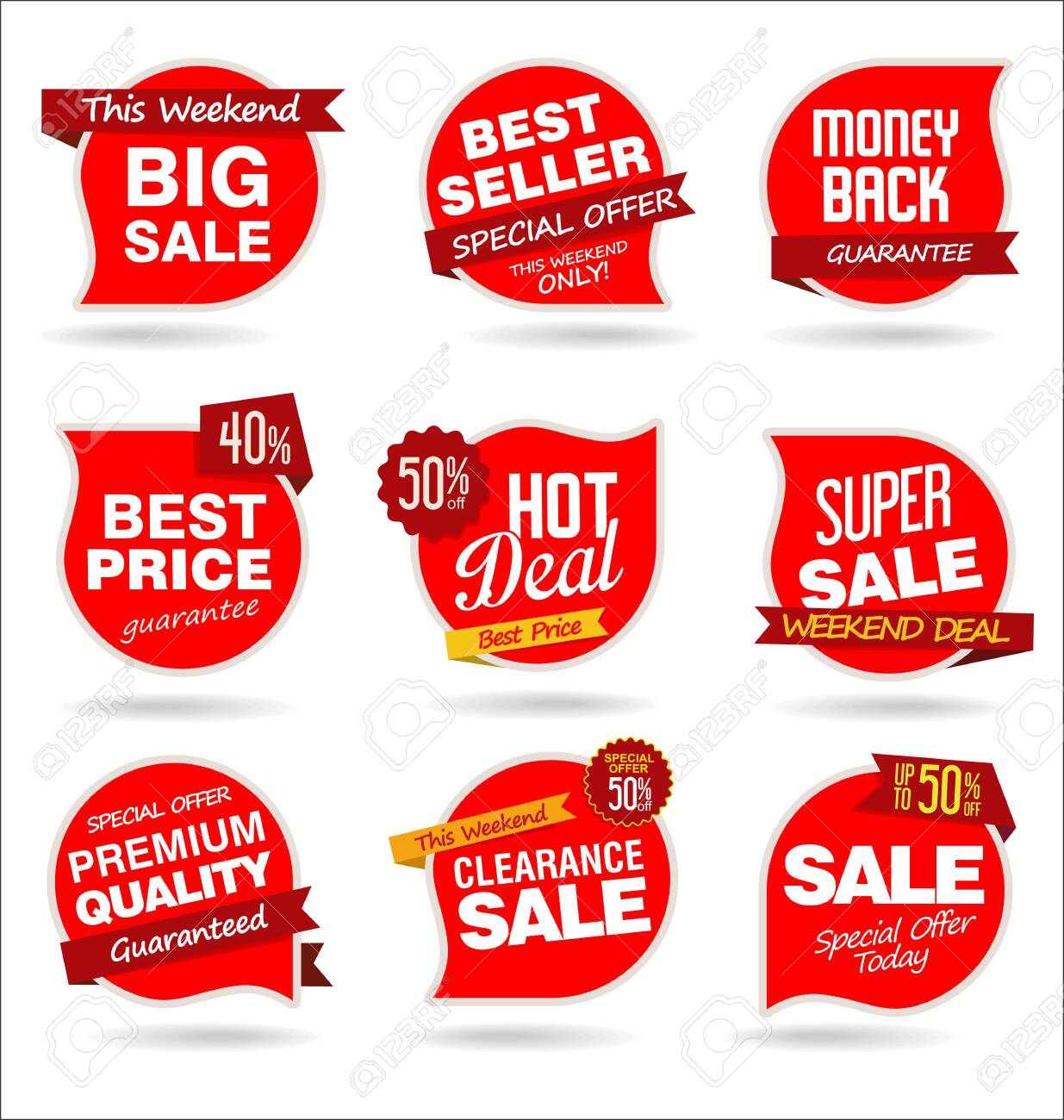modern colorful sale stickers collection - 135706576