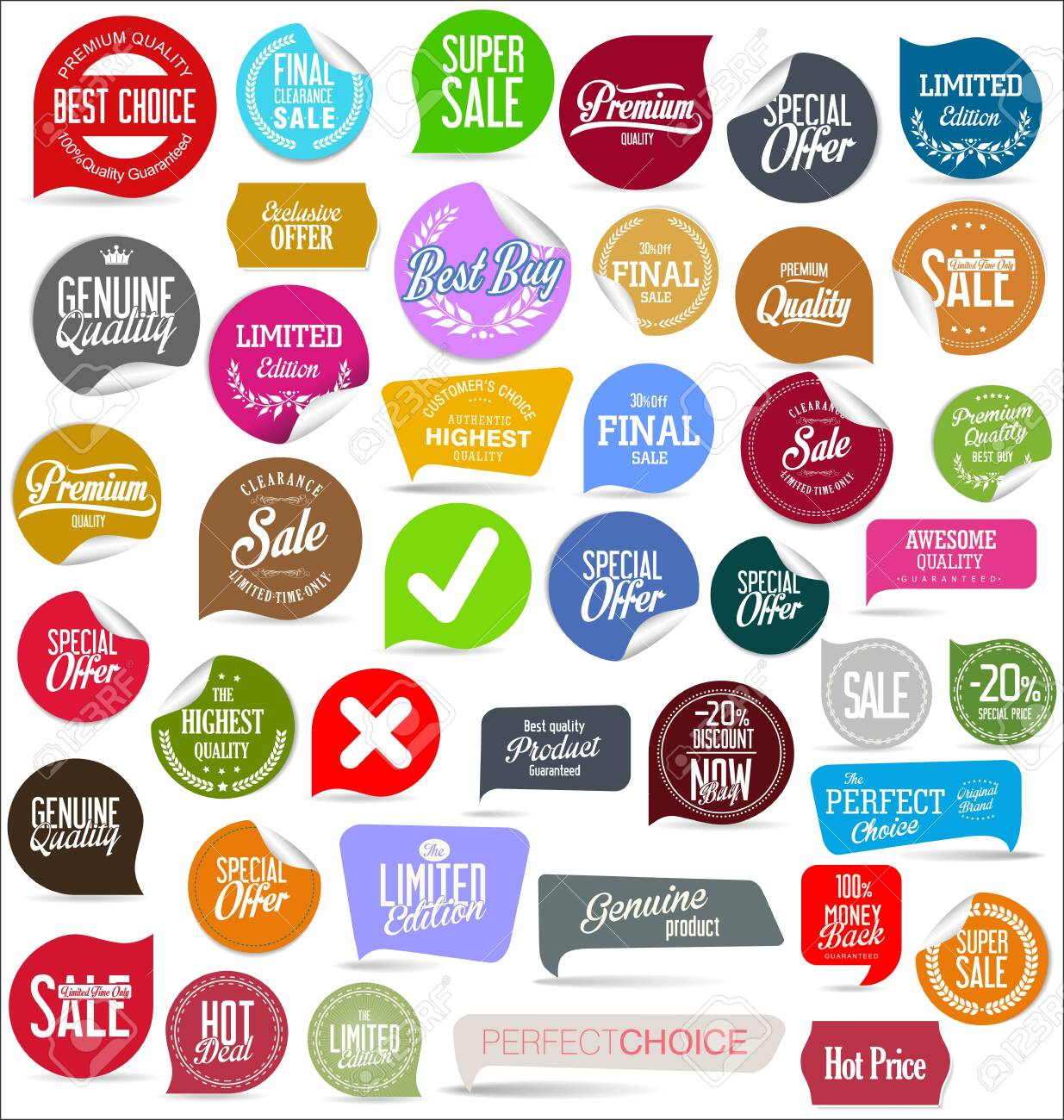 Sale banner templates design and special offer tags collection - 138592861