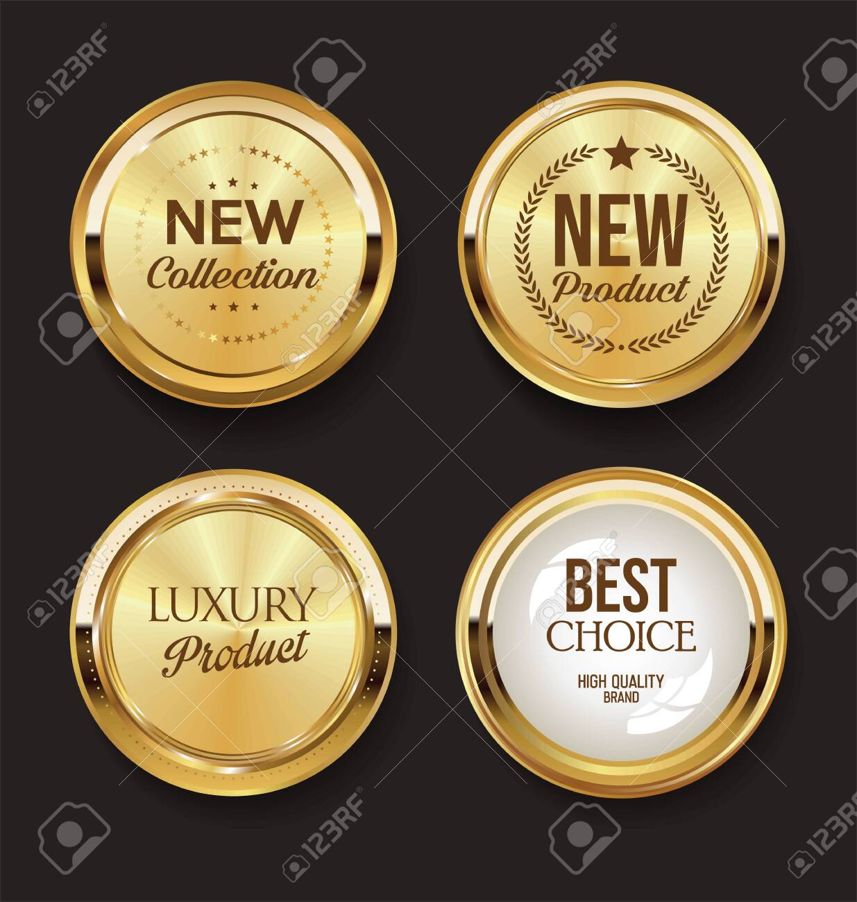Luxury premium golden badges and labels - 140124351