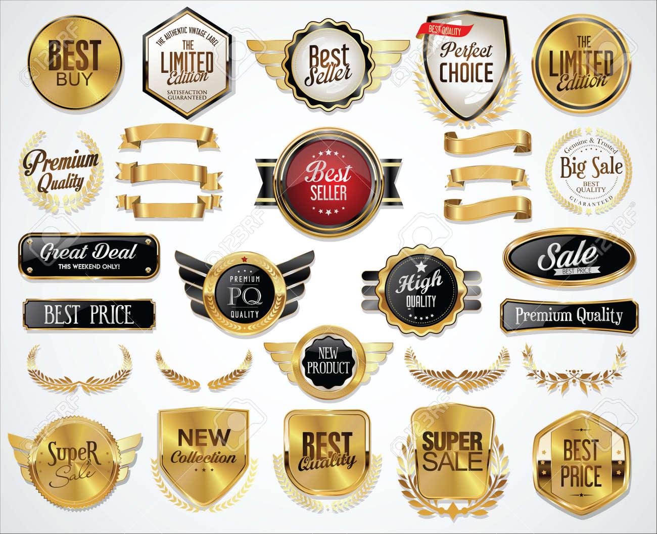 Collection of Golden badges labels laurels shield and metal plates - 155673470